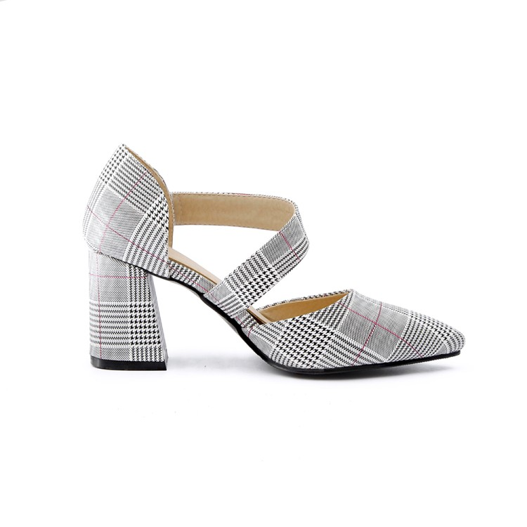 Xianyiduo/Новинка 2019 года; модные летние вечерние женские туфли; босоножки с закрытым острым носком на квадратном каблуке; пикантные туфли на за... - 3