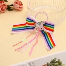ncmama Hair Accessories Scrunchies Band for Girls with Elastics Unicorn Sequin Scrunchie Handmade Kids Hairband