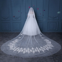 Fashion Bridal Wedding Veil Two Layers Cathedral Long Veils Applique Ivory Soft Tulle Veil with Comb Handmade