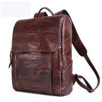 В стиле ретро из натуральной кожи мужской рюкзак для ноутбука Повседневное сумка Для мужчин рюкзаки рюкзак для ноутбука Для мужчин Путешес