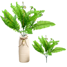 Artificial Boston Fern Green Plant Plastic Silk Leaves Branch Plants for Office Home Hotel Wedding Decoration