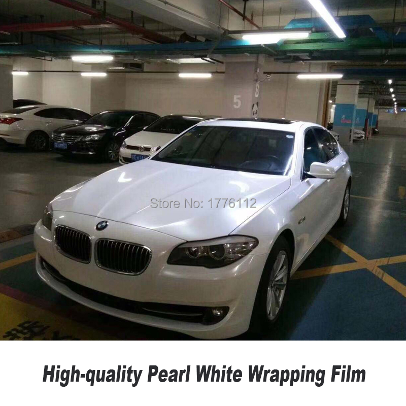 Film de vinyle blanc perle brillant pour voiture emballage autocollant blanc perle en céramique brillante 1.52*20 M/Roll