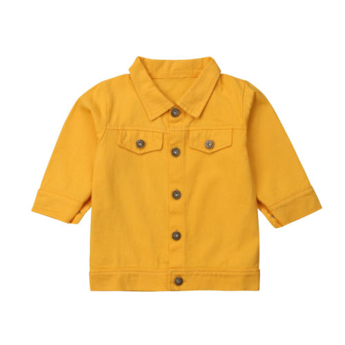 Moda Amarillo Niños Abrigo Denim Bebé Jeans Niño Tops Chaquetas Niña tr1r4