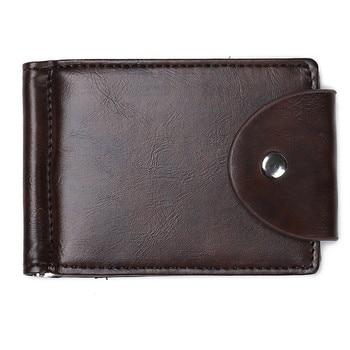 bbedfef0a Nueva moda cartera de los hombres de la marca de lujo de los hombres de  cuero dinero Clip dinero abrazaderas Bifold cartera crédito titular hombre  bolsa ...