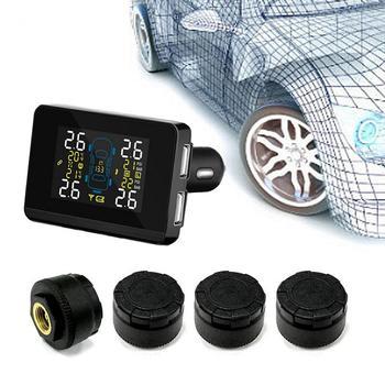 DC8V-DC16V Universal Car TPMS Wireless 4 Wheel Tires External Sensor433.92MHz LCD Display Two USB Charging Ports