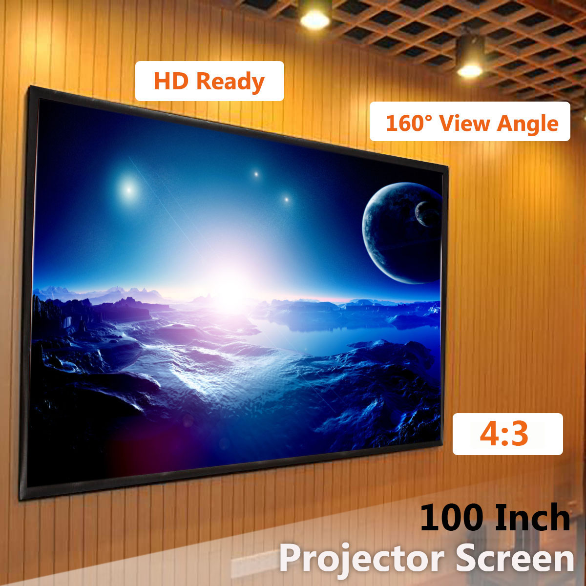Portable 100inch 3D HD Wall Mounted Projection Screen Canvas 4:3 LED Projector Screen For Home Theater