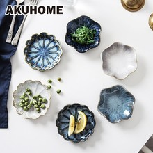 Originality Ceramics Plate Flavor Small Dish Seasoning Food A European Flower Tableware White Blue