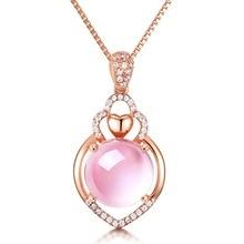 14K Rose Gold Pendants Necklace Female Natural Quartz Stone Pendant Bijoux or Bizuteria Amethyst Gemstones Dropshopping
