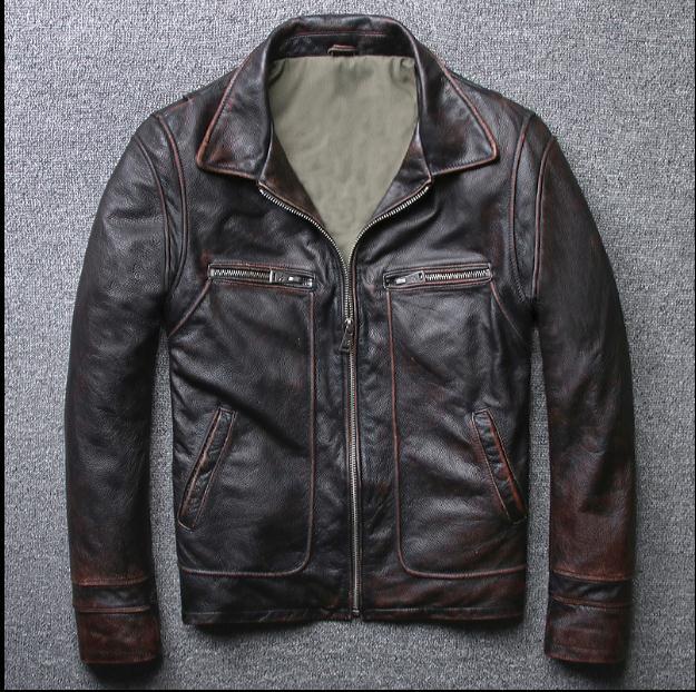 Homme Vache Jacketvintage Vêtements Cadeau De Neuf Biker En Vestes Véritable Brun Brown Veste Cuir Tout Hommes MpqzVSU