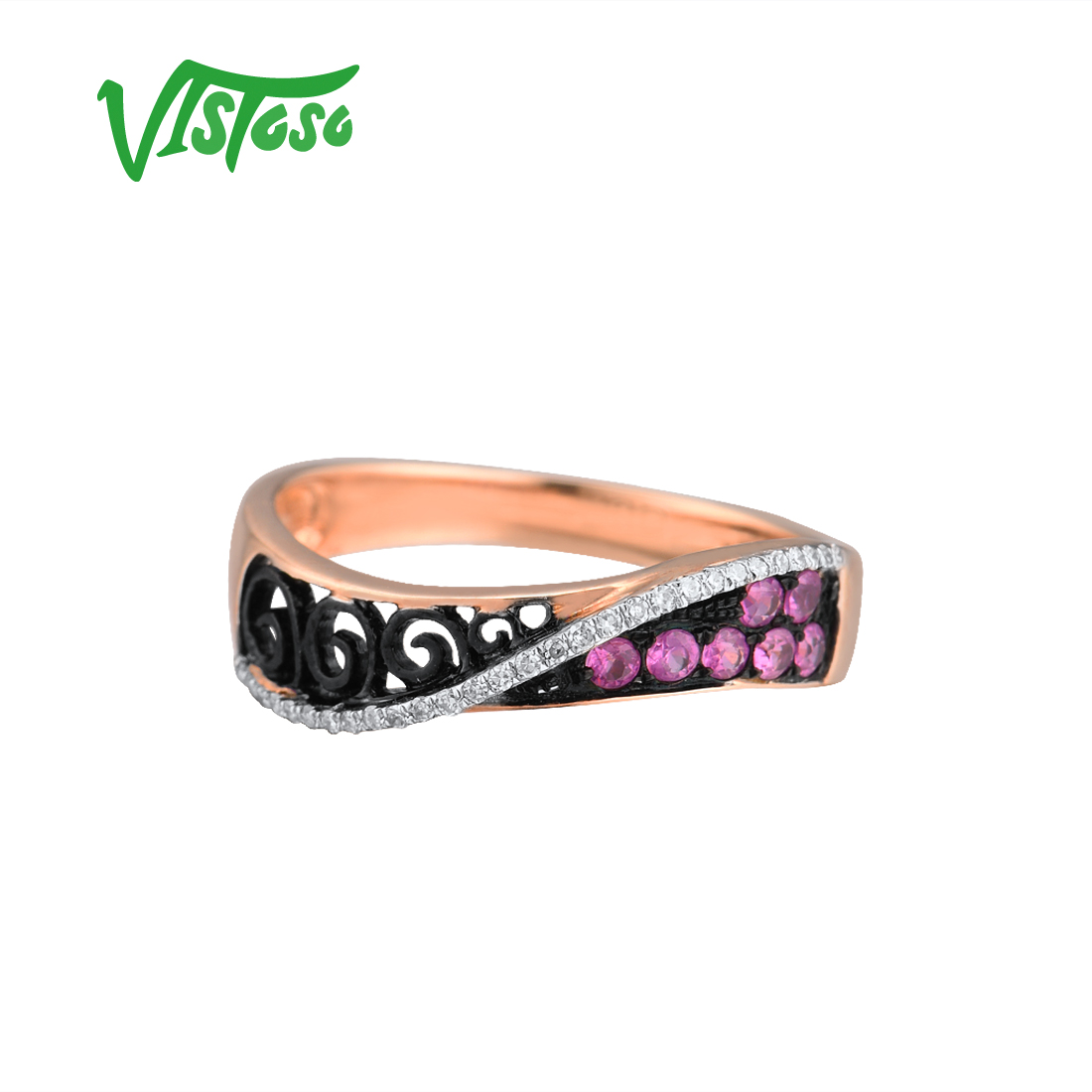 Vistoso 여성을위한 골드 링 정품 14 k 585 로즈 골드 링 스파클링 다이아몬드 핑크 사파이어 할로우 라임 라인 트렌디 파인 쥬얼리-에서반지부터 쥬얼리 및 액세서리 의  그룹 2