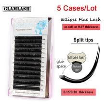 GLAMLASH 5Cases/Lot Ellipse Flat Individual Split Tips Eyelash Extension Natural Soft Cilios Matte Mink False Eye Lash Extension недорого