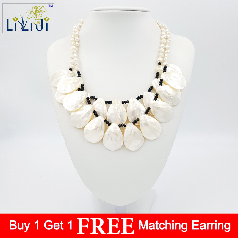 Natural Stone Shell&White Baroque Freshwater Pearl Beads&Jades toggle Necklace Fashion Jewelry Approx 49cm/20inches polyresin round beads necklace 46 49cm 5 pack