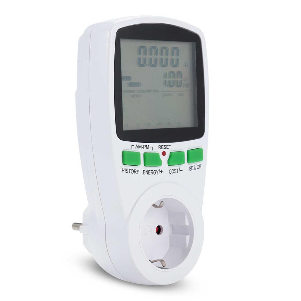 220v zasilanie prądem zmiennym mierniki cyfrowy watomierz ue licznik energii Watt Monitor Kwh koszt energii elektrycznej schemat pomiarowy analizator gniazda