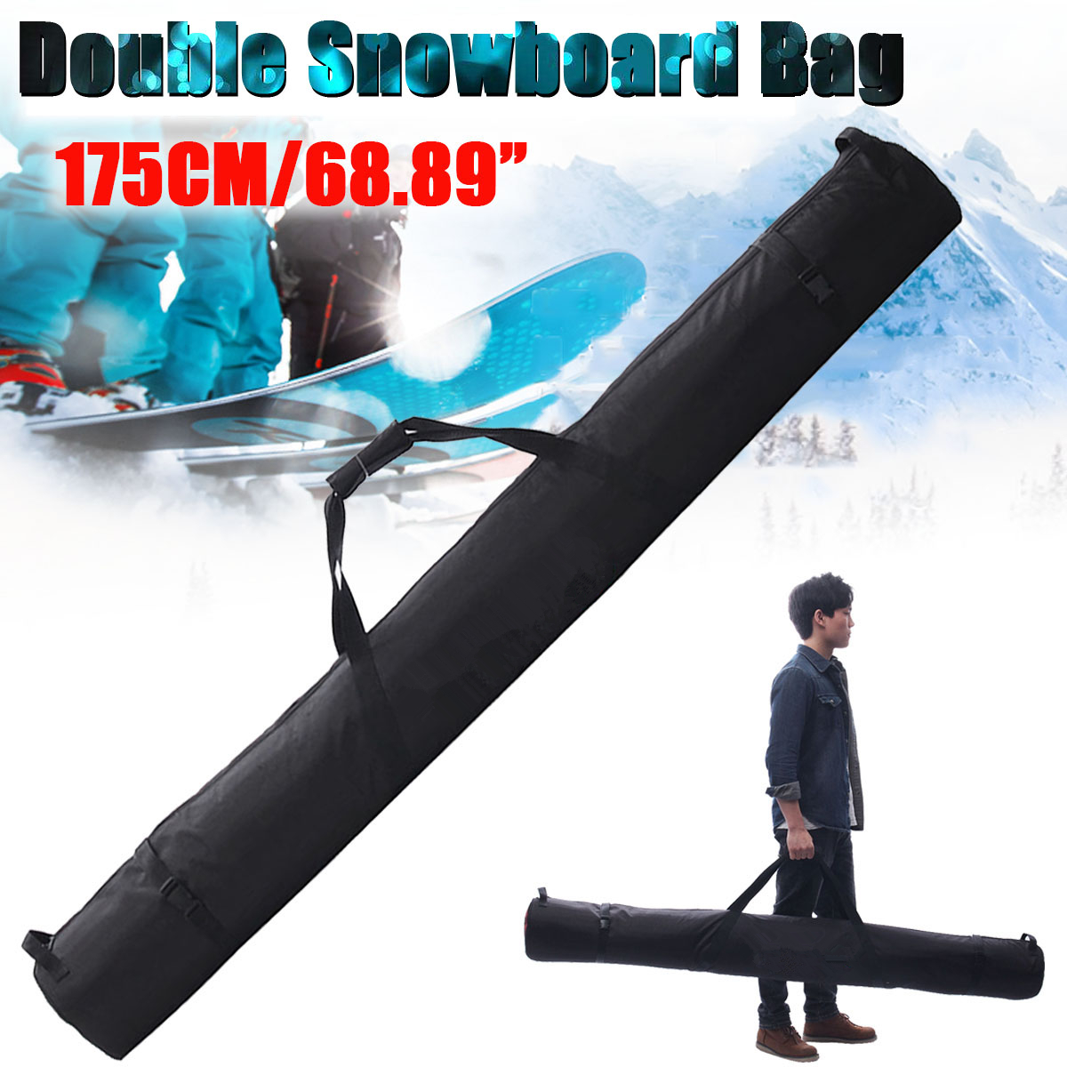 Faithful 175cm/69 Inch Snowboard Skiing Bag For Double Snowboard In Polyester Sport Snowboard Bag Ski Bag Snowboard Bag Pure Whiteness