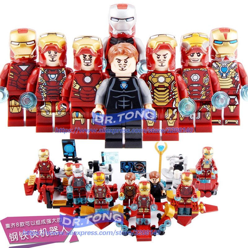80PCS Legoingly Super Heroes Avengers Figures Iron Man 8 In 1 Hulk Buster Ironman Action Bricks Set Model Toys Child Gifts SY624