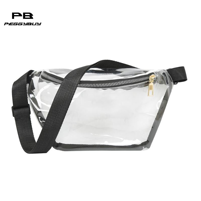 2019 New Simple Transparent Waist Bags Women PVC Fanny Packs Girls Casual Small Waterproof Chest Shoulder Bags Bolsas Femimina