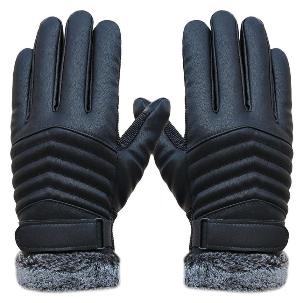 Men's non-slip thermal winter sports leather gloves Tactile display Gloves