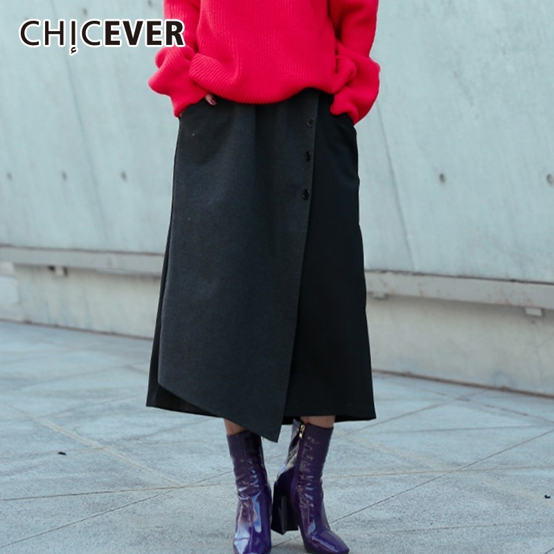 CHICEVER Autumn Winter Women s Wide Leg Pants Female Elastic High Waist Loose Black Ankle Length