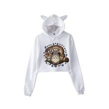 2019 Totoro bluza z kapturem Kawaii kobiety śliczne Totoro Print bluzy z kapturem kobiety Harajuku z długim rękawem z kapturem drukowanie bluzy topy tanie tanio DAYUHU Mieszanka bawełny W stylu Preppy Suknem Pełna Krótki Cartoon Swetry REGULAR totoro hoodie