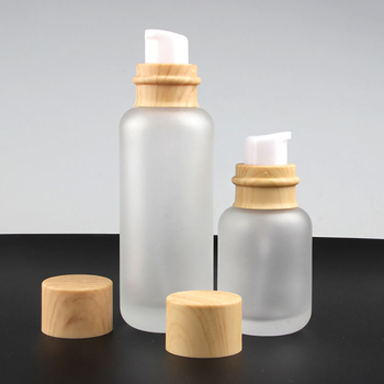 Fashion frosted serum bottle 110ml frosted glass jar with wooden lid for cosmetic packaging