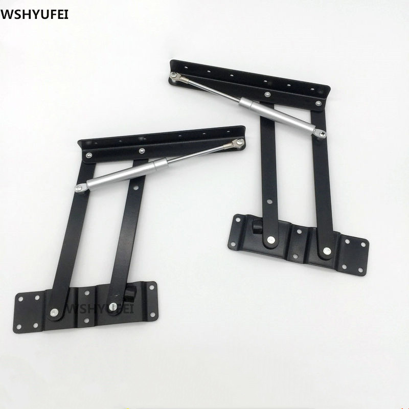 2pcs Folding Spring Tea Table Hinge Furniture Lift Up Top Mechanism Hardware Lifting Rack Shelf For Coffee Computer table|Cabinet Hinges| |  - title=