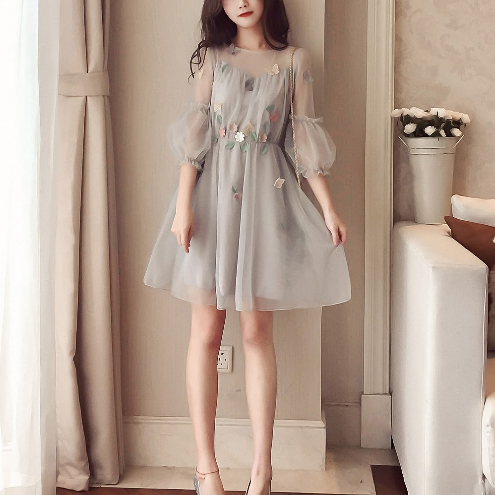 Korean Spring Summer Dress Midi Long Sleeve Dress Wholesale Elegant Plus Size Dresses 3