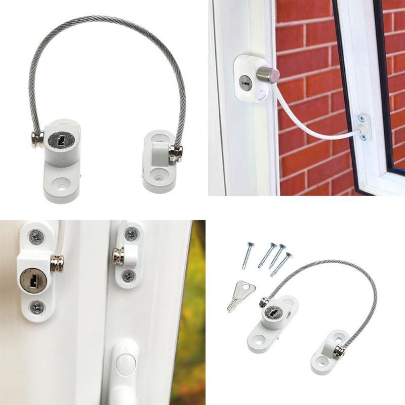 18.5/20 Cm Door Window Lock Security Cable Lock Door Safety Restrict Child Room Window And Door Security Restrictor With Key