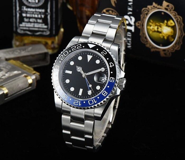 40 millimetri GMT orologio in acciaio bracciale in acciaio quadrante sterile di ceramica blu/nero vetro zaffiro lunetta carica automatica maschio Z 7-in Orologi meccanici da Orologi da polso su  Gruppo 1