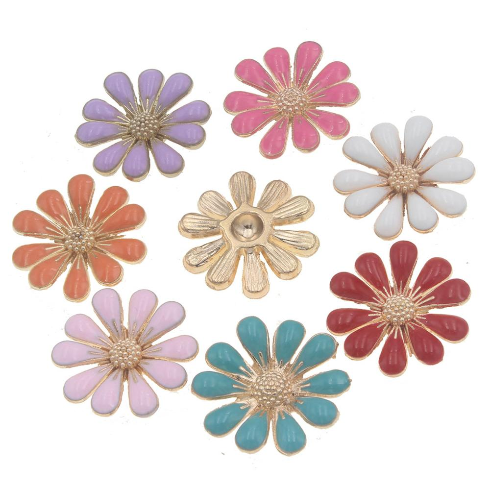 18mm Flatback Buttons For Crafts Handmade Home Decoration Accessories Flower Applique For Crafts Botones Decorativos Snap Button