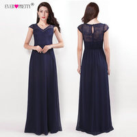 Navy Blue Evening Dresses Ever Pretty EZ07437NB Elegant A Line V Neck Lace Chiffon Long Gown For Wedding Party Robe De Soiree