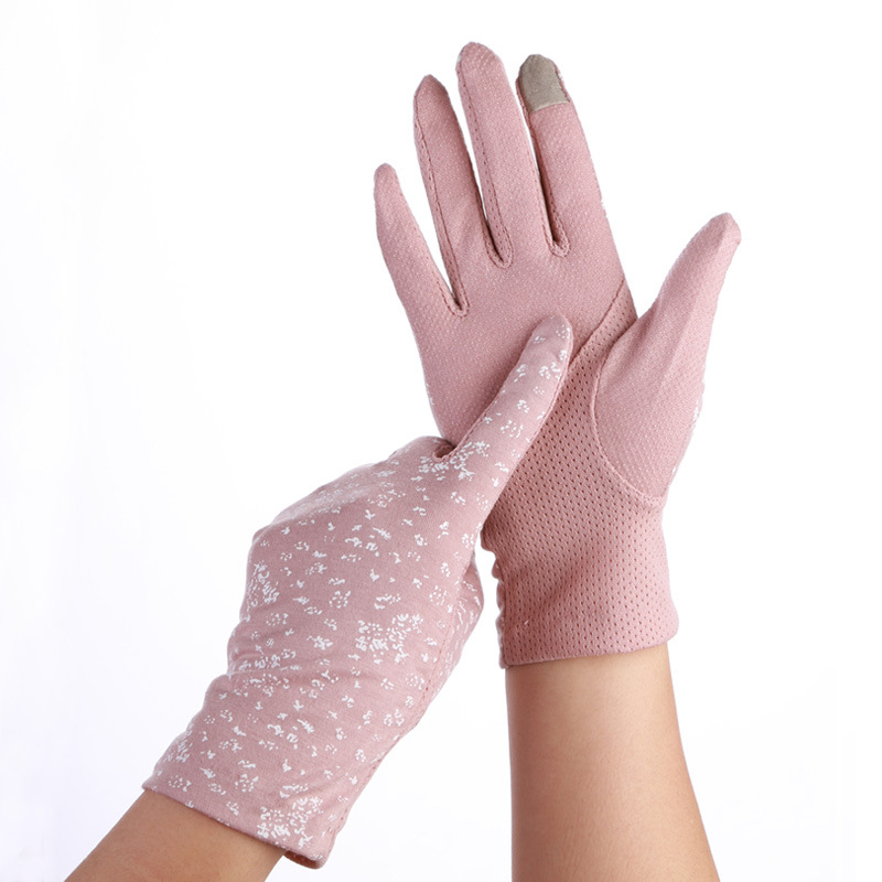 Women Sunscreen Stretch Gloves Summer Spring Lady Touch Screen Anti Uv Slip Resistant Driving Glove Breathable Guantes Pink