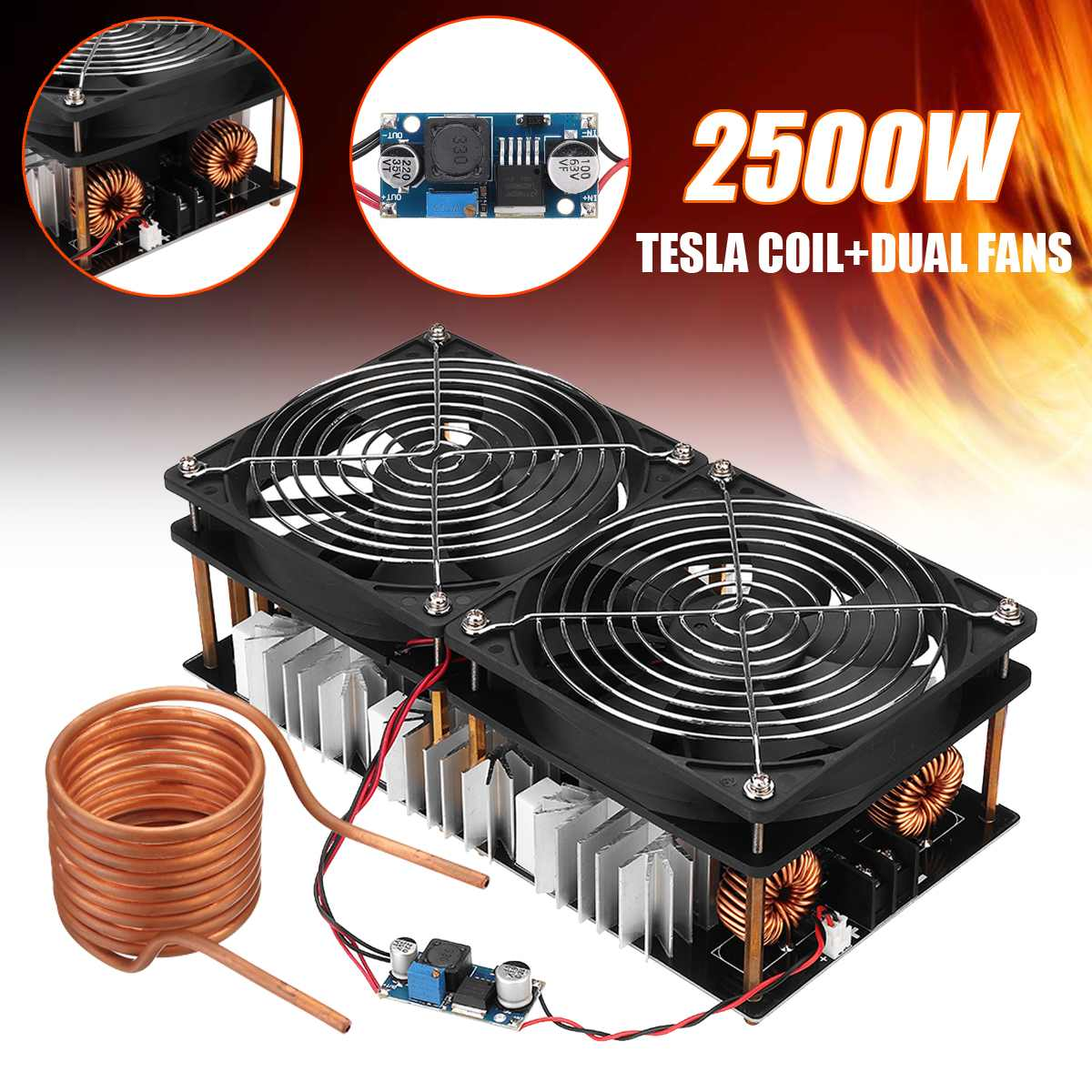 1800W/2500W ZVS Induction Heater Induction Heating PCB Board Module Flyback Driver Heater Cooling Fan Interface+ 48V Coil