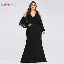 Plus Size Black Mother of the Bride Dresses Long Ever Pretty Mermaid Sleeve V-Neck Cheap Formal Wedding Party Gowns 2019