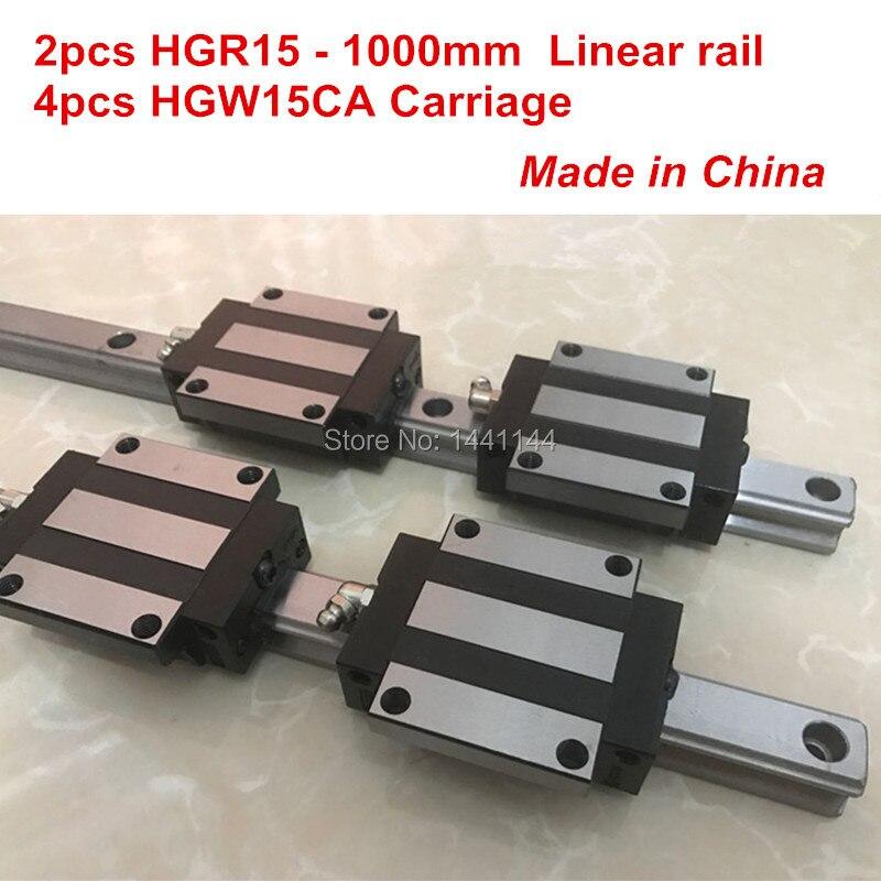 HGR15 lineare binario di guida: 2 pz HGR15-1000mm + 4 pz HGW15CA blocco di trasporto lineare parti CNCHGR15 lineare binario di guida: 2 pz HGR15-1000mm + 4 pz HGW15CA blocco di trasporto lineare parti CNC