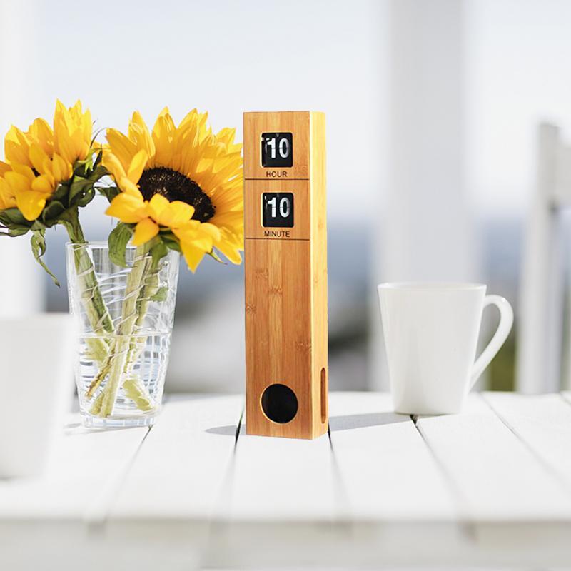 Horloge rabattable automatique de 19 pouces de hauteur avec boîtier en bois de bambou décoration rétro moderne