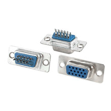 3 Pcs Penggantian Solder VGA DB15 15 Pin Female Konektor Adaptor Perak + Biru(China)
