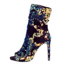 Sexy Colorful Sequins Peep Toe Socks Boots Shoes Side Zipper Bling Paillette Stiletto Real Photo Ankle Bootie