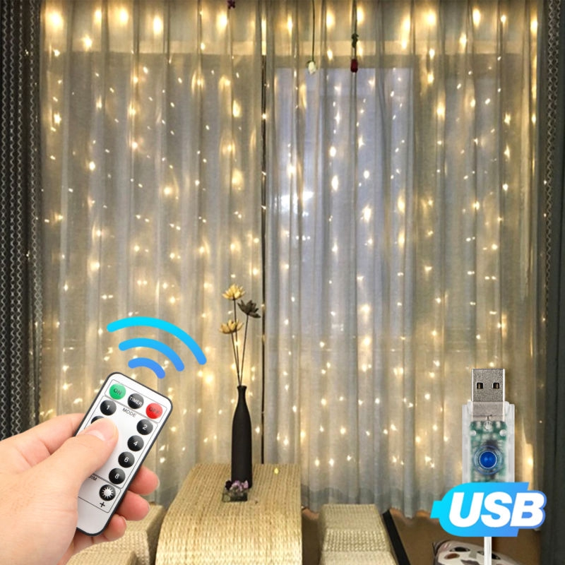 Remote LED Curtain String Fairy Lights Christmas Party Wedding String Lights Lighting Garland Icicle USB Port For Garden Decor
