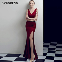 SVKSBEVS 2018 Deep V Neck Sexy Split Bodycon Long Dresses Elegant Party Mermaid Beading Tank Backless Maxi Dress