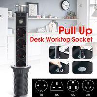 2500W US/UK/EU/AU Plug Pull pop up Electrical Socket 4 Power 2 charge USB Aluminum Shelf LED Desk Worktop Extension Table Home