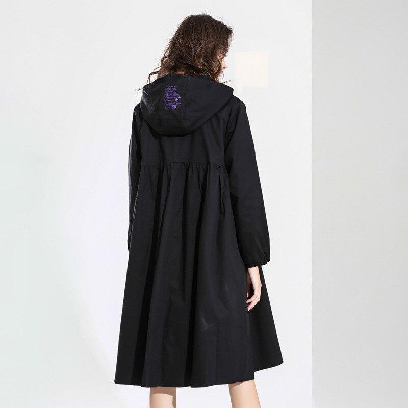 Max LuLu 2019 ฤดูใบไม้ผลิแฟชั่นอังกฤษสุภาพสตรีสีดำเสื้อผ้า Hooded Windbreaker ผู้หญิงพิมพ์ขนาดใหญ่ Trench Vintage เสื้อโค้ทยาว-ใน โค้ทยาว จาก เสื้อผ้าสตรี บน   2