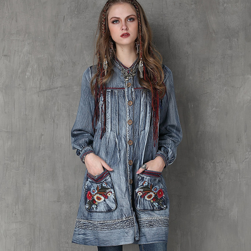 #2451 Spring Autumn Brand Cowboy Cardigan Vintage Single Breasted Pockets Embroidery Denim Dress Women Long Sleeve Stand Collar