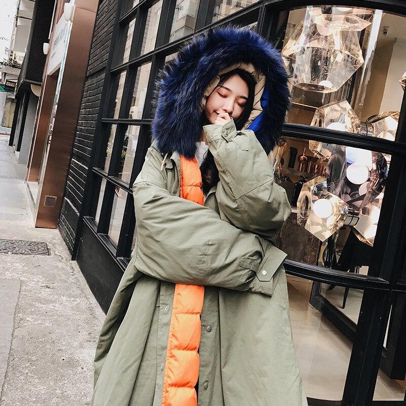 Le Grand Vers Coréenne Parka Col Nouveau 2018 Hiver blue Veste A616 Taille Femmes Coton Vêtements Lâche Long Manteau Rembourré Green Plus Fourrure Bas La De 0xf0qw7P