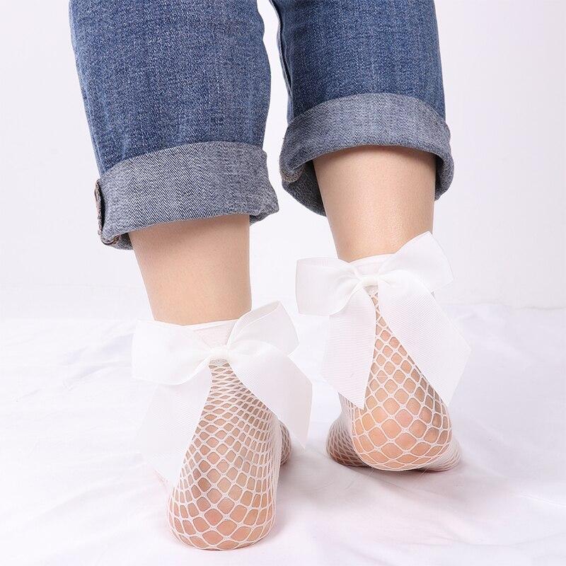 2Pair Women Baby Girls Kids Mesh Socks Bow Fishnet Ankle High Lace Fish Net Vintage Short
