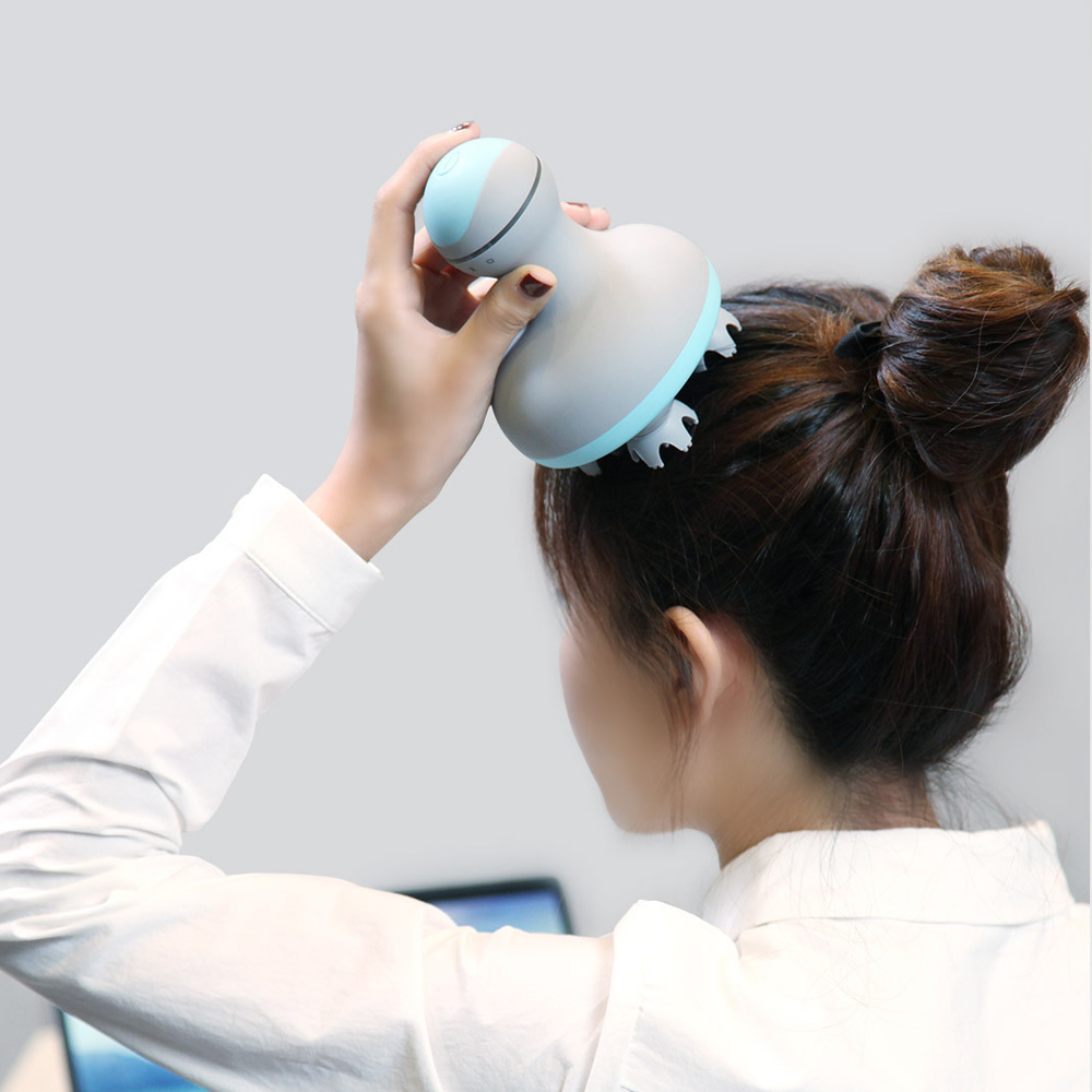 Original Mijia Wireless Two-Way Encircling Power Head Massager IPX7 Waterproof 2-Speed Adjustment 6 Massage Techniques