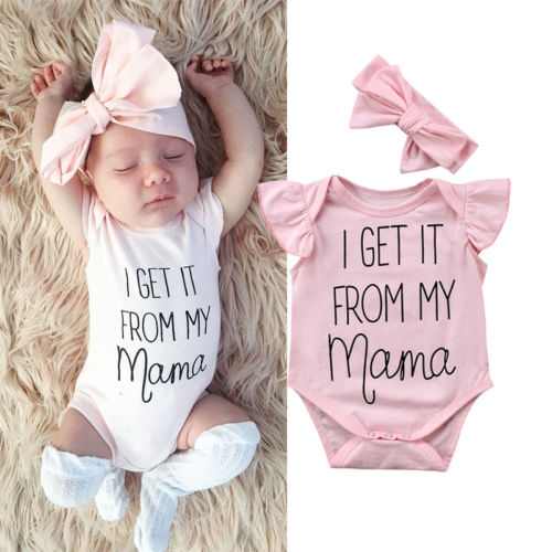 0-18M Newborn Kids Baby Girls Floral Clothes Jumpsuit Short Sleeve Bodysuit Headband Outfit