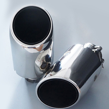 Universal 2 Pieces In 63mm Out 110mm stainless steel Exhaust End Tips Pipes Car Styling