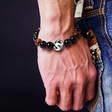 цена на Fashion High Quality Dragon Faux Agate Tiger Eye Beads Stone Buddha Strand Bead Bracelet Jewelry For Men Women Jewelry Gift