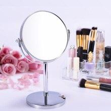 Espejo cosmético de aumento de Metal de doble cara mesa de señora mesa de pie tocador de maquillaje espejo redondo de escritorio espejo giratorio