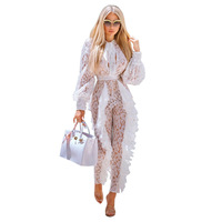 Casual White Ruffles Rompers Elegant Plus Size Summer Lace Jumpsuit Women Clothes Sexy Perspectiva Bodysuit Wide Leg Pants QH382
